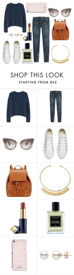"""* BETTER COMFY by bOO *"" by boo-sandra on Polyvore featuring MANGO, Balmain, Miu Miu, Converse, Barneys New York, Lizzie Fortunato, Estée Lauder, Jardins D'Écrivains and Kate Spade"