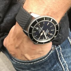 Breitling Superocean Heritage 46 on a rubber strap.