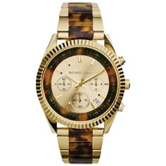 Shop for Michael Kors Women's Clarkson Goldtone and Tortoise Chronograph Watch. Get free delivery On EVERYTHING* Overstock - Your Online Watches Store! Michael Kors Looks, Michael Kors Watch, Stylish Watches, Cool Watches, Rolex Watches, Stainless Steel Bracelet, Stainless Steel Case, Tortoise Shell Watch, Luxury Watch Brands
