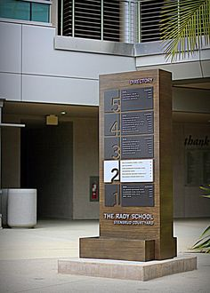 This is one of freestanding way finding directionals built and installed for the Rady School of Business, by Clear Sign & Design Inc. Fasade Design, Standing Signage, Directory Signs, Exterior Signage, Signages, Restaurant Branding, Signage Design, Alexandria, Filing Cabinet