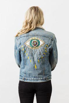 Denim and Bone 'Evil eye' hand embroidered vintage denim jacket