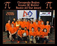 Team 5830 rocking the orange - - we received an amazing award at the Greater DC Tournament - The ROOKIE ALL-STAR AWARD! #frc5830 #team5830 #irrationalengineers #gotpi #outrageouslyorange #omgrobots #FIRSTSTRONGHOLD