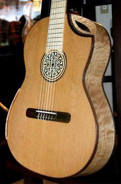 Bellucci Curly Maple B&S, Cedar top Concert Classical Guitar.