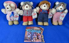 Wendy's Promo Furskins Bears Plush 1986 Lot Of 4 Bears & 1 Book #APPALACHIANARTWORKS