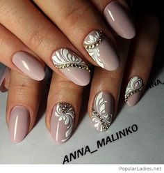 Nude nails with white print and applications