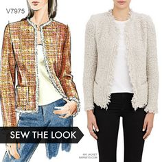 Sew the Look: Make a Chanel-style jacket with Vogue Patterns jacket pattern. : Sew the Look: Make a Chanel-style jacket with Vogue Patterns jacket pattern. Vogue Patterns, Coat Patterns, Clothing Patterns, Sewing Patterns, Chanel Tweed Jacket, Chanel Style Jacket, Collarless Jacket, Boucle Jacket, Diy Clothing