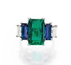 Platinum, Emerald, Sapphire and Diamond Ring