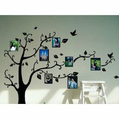 Family Tree Wall Decal with Black Frames Family Tree Wallpaper, Family Tree Wall Decal, Tree Wall Art, Family Wall, Family Pics, Photo Wall Stickers, Wall Stickers Home, Picture Tree, Picture Frames