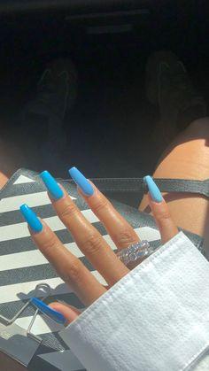 newest acrylic nail designs ideas to try this year 00017 - Beauty Tips - nails Blue Acrylic Nails, Summer Acrylic Nails, Acrylic Nail Designs, Neon Blue Nails, Aycrlic Nails, Hair And Nails, Fire Nails, Dream Nails, Nail Swag
