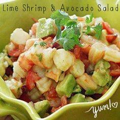 Healthy Lime Shrimp & Avocado Salad!  Yummy!