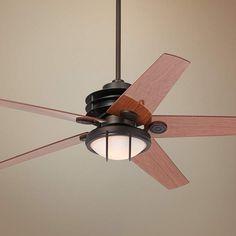 "60"" Casa Venue Frosted White Glass Bronze Damp Ceiling Fan - #8X228-R8847   Lamps Plus"