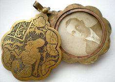 1920s Egyptian Revival Brass Slide Pendant