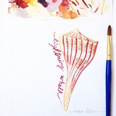 #31DaysOfSeashells miniature painting #23 just reminds me so much of an ice cream cone...Perhaps I should eat lunch.  Either way this beautiful shell is called the Lightning Whelk. Copyright Amalia Hillmann