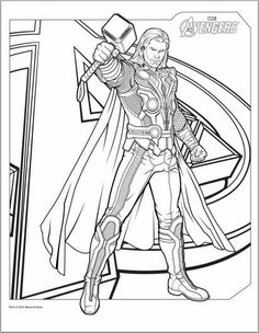 Thor (and Avengers) Free Printable Coloring Pages for Boys