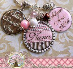 Mom Grandma Nana NECKLACE (or Key Chain), Triple Pendant, Photograph, Custom Names, Children's Names, Bottle cap, Mother, Gift, Mimi, Aunt. $30.00, via Etsy.