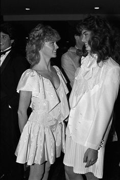 Olivia Newton-John and Brooke Shields Olivia Newton John Grease, Olivia Newton Jones, Brooke Shields, New Hair Do, Women Of Rock, Celebrity Photography, Vogue, Retro Girls, John Travolta