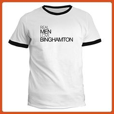 Idakoos - Real men love Binghamton - US Cities - Ringer T-Shirt - Cities countries flags shirts (*Partner-Link)