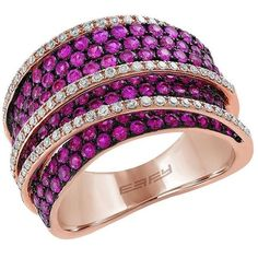 Effy Amore Ruby, Diamond and 14K Rose Gold Ring (13.310 HRK) ❤ liked on Polyvore featuring jewelry, rings, purple, 14k ring, 14k rose gold ring, purple diamond ring, pink rose gold ring and 14k ruby ring