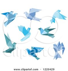 Clipart of Bue Origami Birds - Royalty Free Vector Illustration by Seamartini Graphics