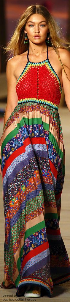 SPRING 2016 READY-TO-WEAR Tommy Hilfiger rainbow knit dress #Unique_Boho_Style