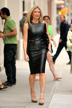 Luxe good: Caprice Bourret looked lovely in leather dress as she leaves the AOL building in New York's East Village on Wednesday Leather Mini Dress, Black Leather Dresses, Leather Heels, Leather Skirts, Leather Leggings, Celebrity Outfits, Sexy Outfits, Celebrity Style, Mode Latex