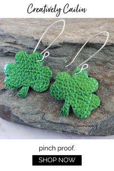 A fun dangle shamrock clover earring perfect for St. Patrick's day! Metallic green clover genuine leather earrings are super lightweight and comfortable to wear.