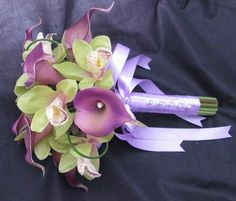 Green and Purple Wedding Bouquets | Natural Touch Bouquet Looped Purple Calla Green Orchid [BNTLopCalOrch ...