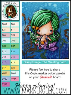 Copic marker colour palette for The Greeting Farm Magical stamp kit Mermaid stamp image | Marker Geek