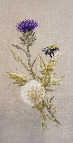 New Modern Counted Cross Stitch Hand Embroidery Kit Bumblebee and Carduus, Wild Flowers, Russian Manufacture, Gift Idea - Products - Mini Cross Stitch, Modern Cross Stitch, Cross Stitch Flowers, Cross Stitch Kits, Cross Stitch Designs, Cross Stitch Patterns, Loom Patterns, Hand Embroidery Stitches, Embroidery Techniques