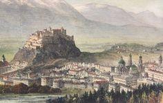 Holzstich Salzburg Festung | Grafik | Antik | Aparello