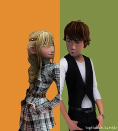 Astrid & Hiccup. Not sure why I like this so much. :)<-- it looks cool AND HE IS TOTALLY DOING THE SMOLDER!!!