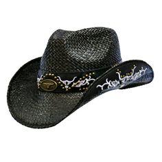 Black Raffia Cowboy Hat With Black  White Studded Tribal Design Trim $38.99