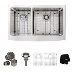 All-in-One Farmhouse Apron Front Stainless Steel (Silver) 33 in. Double Bowl Kitchen Sink with Faucet in Stainless Steel