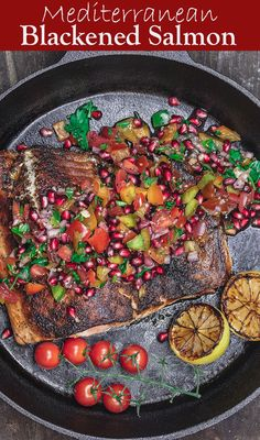 Wow, you won't believe how simple it is to make this amazing Mediterranean Blackened Salmon! The Mediterranean spices and the bright pomegranate salsa are a must! Ready in just 20 minutes. Recipe comes with lots of tips and two ways, broiled salmon or pan Salmon Recipes, Fish Recipes, Seafood Recipes, Cooking Recipes, Healthy Recipes, Healthy Foods, Keto Recipes, Easy Mediterranean Diet Recipes, Mediterranean Spices
