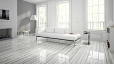 Love these porcelain tiles inspired by the vibrant streaks in marble. White and gray interior design Living Room Sliding Doors, Gray Interior, Interior Design, Living Room Flooring, Kitchen Flooring, Outdoor Flooring, Living Styles, Classic House, Tile Design