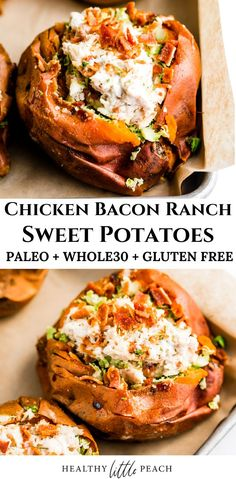 A savory and creamy chicken bacon ranch stuffed sweet potato. This recipe is and Paleo compliant. In addition to a great weeknight dinner, it is a great meal prep option. dinner with potatoes Chicken Bacon Stuffed Sweet Potato Paleo Dinner, Healthy Dinner Recipes, Paleo Recipes, Whole Food Recipes, Cooking Recipes, Bacon Dinner Recipes, Weekly Recipes, Paleo Chicken Recipes, Paleo Meals