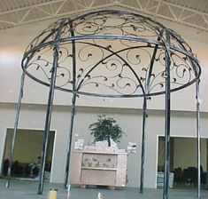 Star of David Gazebo in Friends Church.  A closer look reveals butterflies throughout the wrought iron dome structure.