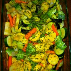 Zucchini, squash, carrots, asparagus, broccoli, onion, and eggplant. Drizzled with olive oil and seasoned with garlic, salt, pepper, and parsley. Roasted at 350 for 20 minutes.