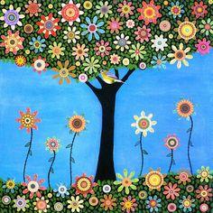 Nursery Decor, Folk Art Tree Painting, Bird Tree Collage Painting Art Print on Wood. $35.00, via Etsy.