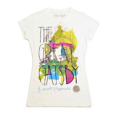 The Great Gatsby tee, by Out of Print and Mikey Burton. The Great Gatsby Book, Great Books, Book Shirts, Textiles, Geek Chic, Vintage Shirts, Book Lovers, Graphic Tees, T Shirts For Women