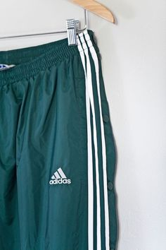 7cb398730e8f Adidas Vintage Tear Away Snap Sided Lined Track Pants Forest Green XXL 90s  Mint  fashion