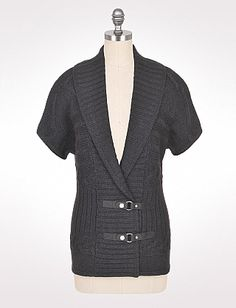 Faux Leather Detail Cardigan