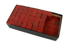 Box of 86 Vintage Wooden Dice by Thesco Red Black Round Corner
