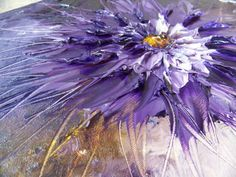 """Textured art painting, Original Modern art. Floral Oil Painting ,Titled """"Purple Flower"""" 16 x 16  , heavy sculpted art by Pauline Mustaikis"""