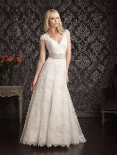 ALine Capped Sleeves Lace Wedding Dress Gown with by weddingJEM, $169.00