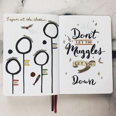 PLAN WITH ME || October 2019 Bullet Journal Set Up - My last weekly spread only had 4 days, so I thought this Quidditch layout would work perfectly! I was inspired by nicole.josephinee, and I think it turned out so cute and it was still super easy to make! I had one extra page left, so I decided to recreate this wall art I actually found from Target. I thought it was too funny! Bullet Journal October, Bullet Journal Quotes, Bullet Journal Notebook, Bullet Journal Themes, Bullet Journal Spread, Bullet Journal Layout, Bullet Journal Inspiration, Harry Potter Journal, Harry Potter Theme
