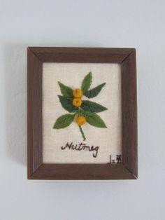 Vintage Framed Crewel Embroidery Nutmeg Wall by SmythandMelville, $7.50