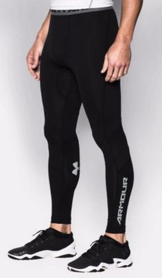 New-Men-s-UA-CoolSwitch-Under-Armour-Black-Navy-Compression-Leggings-Size-L-XL