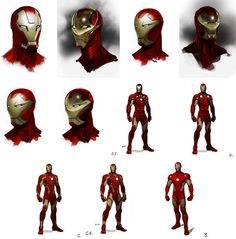 This piece of concept art shows steps taken to complete the character of Iron Man. The editor uses different shading, lighting and backgrounds to complete the atmosphere of the character. The shape of the character's face is also experimented with. For example; different shapes of the gold color on the face, shapes of the eyes and concaves in different parts of the face.