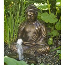 Perfect for a garden or large altar, this Japanese style Buddha in seated meditation, with a beautiful face, is cast in bronze with dark patina. Sacred Garden, Home Altar, Altars, Home And Garden, New Homes, It Cast, Bronze, Statue, Japanese Style